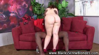 Curvy redhead hoe gets interracial