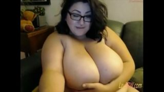 fat BBW play with her giant tits and ass