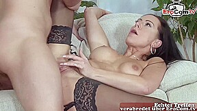 german skinny brunette milf sedcues a guy and fuck him with her big tits