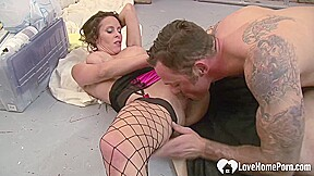 Horny MILF fucks the construction worker as payment